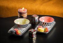 Asian flowers 4 részes modern design porcelán étkészlet 2 személyre. Brand:Nora's design