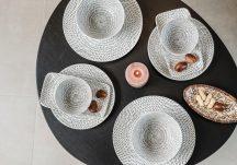 Bali 10 részes modern design porcelán étkészlet 2 személyre. Brand:Nora's design