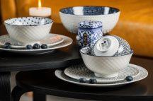 Black & blue 9 részes modern design porcelán étkészlet  2 személyre. Brand:Nora's design