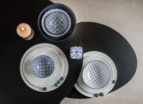 Black and blue 9 részes modern design porcelán étkészlet 2 személyre. Brand:Nora's design