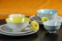 Happy family 8 részes modern design porcelán étkészlet 2 személyre. Brand:Nora's design