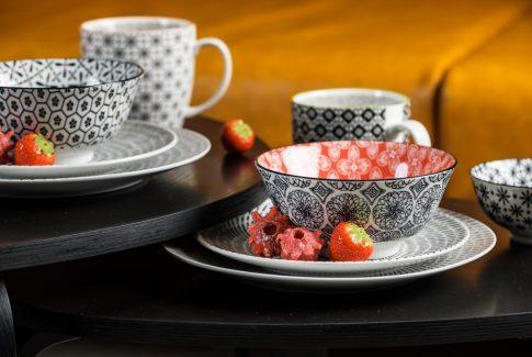 Perfect contrast 10 részes modern design porcelán étkészlet 2 személyre. Brand:Nora's design