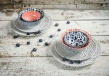 Red & blue 8 részes modern design porcelán étkészlet 2 személyre. Brand:Nora's design