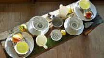 Retro star 14 részes modern design porcelán étkészlet 2 személyre. Brand:Nora's design