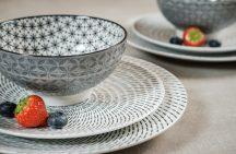 Retro star 6 részes  modern design porcelán étkészlet 2 személyre. Brand:Nora's design