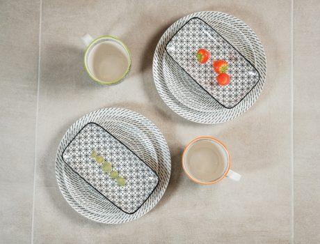 Retro star 8 részes modern design porcelán étkészlet 2 személyre. Brand:Nora's design