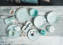 Turquise ocean 14 részes modern design porcelán étkészlet 2 személyre.Brand:Nora's design