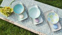 Happy family 6 részes modern design porcelán étkészlet 3 személyre. Brand:Nora's design