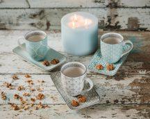 Happy family coffee 6 részes modern design porcelán reggeliző étkészlet 3 személyre. Brand:Nora's design