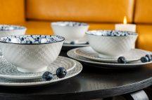 Black & blue 16 részes modern design porcelán étkészlet 4 személyre. Brand:Nora's design