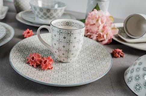 50 shades of grey 14 részes modern design porcelán étkészlet 4 személyre. Brand:Nora's design