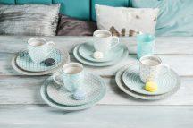 Happy family 12 részes modern design porcelán reggeliző étkészlet 4 személyre. Brand:Nora's design