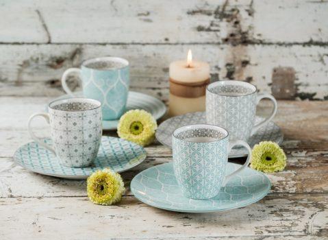 Happy family 8 részes modern design porcelán reggeliző étkészlet 4 személyre. Brand:Nora's design