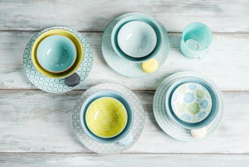 Happy family dinner 12 részes modern design porcelán étkészlet 4 személyre. Brand:Nora's design