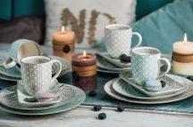 Happy family XI 16 részes modern design porcelán étkészlet 4 személyre .Brand:Nora's design