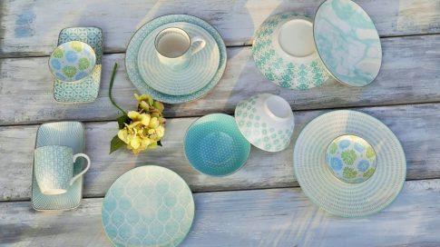 Turquise ocean 28 részes modern design porcelán étkészlet 4 személyre Brand:Nora's design