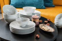 Bali 30 részes modern design porcelán étkészlet 6 személyre.  Brand:Nora's design