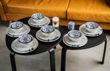 Black & blue 24 részes modern design porcelán étkészlet 6 személyre. Brand:Nora's design