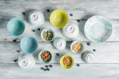 Living colour P 13 részes modern design porcelán étkészlet 6 személyre. Brand:Nora's design