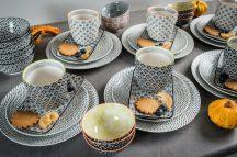 Retro star 42 részes modern design porcelán étkészlet 6 személyre. Brand:Nora's design